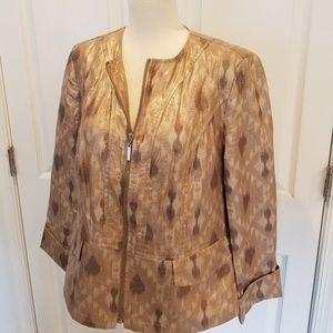 Chico's Gold and Tan Coated Ikat Zip Jacket